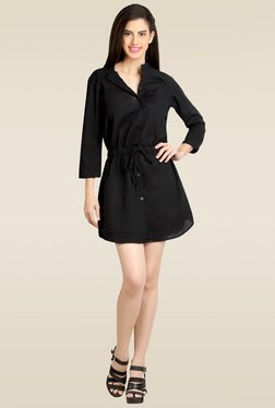 Loco En Cabeza Black 3/4th Sleeves Short Dress
