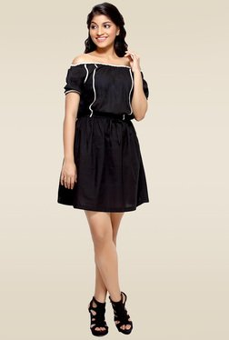 Loco En Cabeza Black Lace Trimmed Short Dress