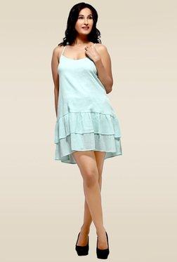 Loco En Cabeza Green Tiered Short Dress