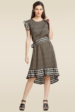 Loco En Cabeza Black Printed Short Sleeves Dress