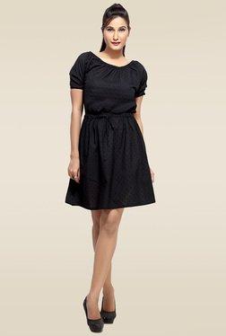 Loco En Cabeza Black Short Sleeves Short Dress