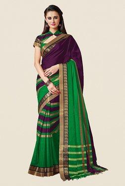 Ishin Green & Purple Striped Premium Cotton Saree