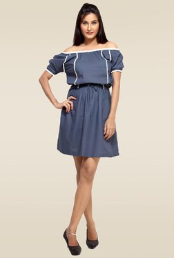 Loco En Cabeza Blue Lace Trimmed Short Dress