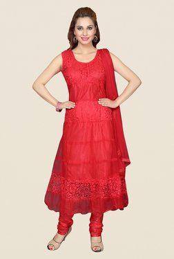 Ishin Red Self Print Net Brasso Dress Material