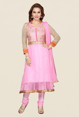 Ishin Light Pink Net Semi Stitched Dress Material