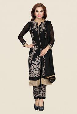 Ishin Black Embroidered Raw Silk Dress Material
