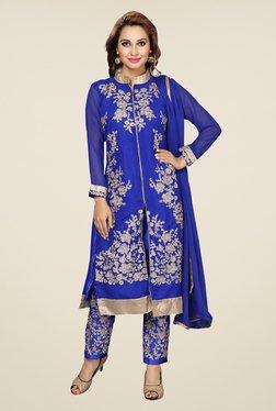 Ishin Blue Embroidered Raw Silk Dress Material