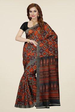 Ishin Orange & Grey Printed Bhagalpuri Silk Saree