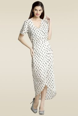 Loco En Cabeza White Cotton Printed Wrap Dress
