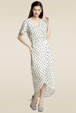 Loco En Cabeza White Cotton Printed Wrap Dress