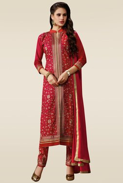 Ishin Red Embroidered Semi Stitched Dress Material