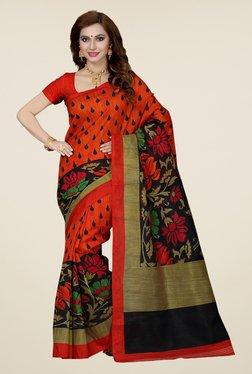 Ishin Orange & Black Printed Bhagalpuri Silk Saree