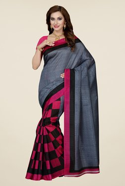 Ishin Pink & Grey Checks Bhagalpuri Silk Saree