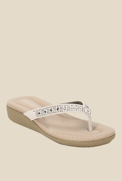 Addons Off-White Wedge Heeled Thong Sandals