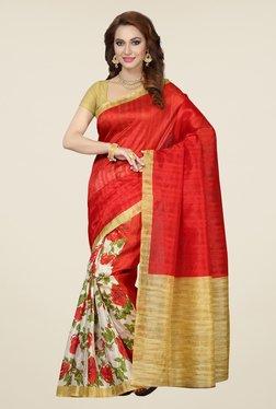 Ishin White & Red Floral Print Bhagalpuri Silk Saree