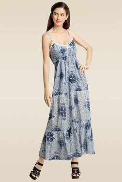 Loco En Cabeza Grey Printed Tiered Dress