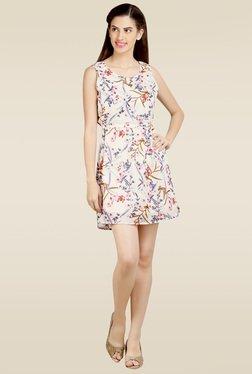 Loco En Cabeza White Printed Short Dress