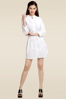 Loco En Cabeza White Regular Fit Short Dress
