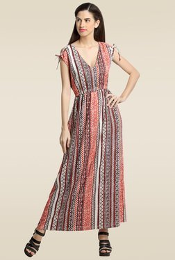 Loco En Cabeza Multicolor Printed V Neck Dress