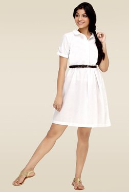 Loco En Cabeza White Shirt Dress