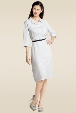 Loco En Cabeza White Striped Shirt Dress