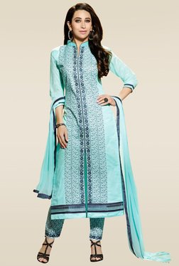 Ishin Blue Embroidered Dress Material With Dupatta