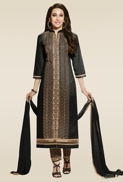 Ishin Black Embroidered Dress Material With Dupatta