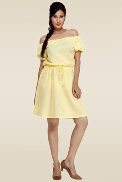 Loco En Cabeza Yellow Lace Trimmed Short Dress