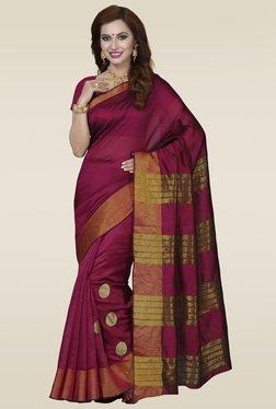 Ishin Pink & Gold Printed Bhagalpuri Silk Saree