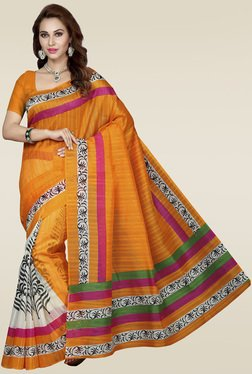 Ishin Orange Bhagalpuri Silk Saree