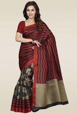 Ishin Red & Black Bhagalpuri Silk Printed Saree