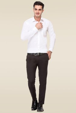 Hancock White Cotton Full Sleeves Cotton Shirt
