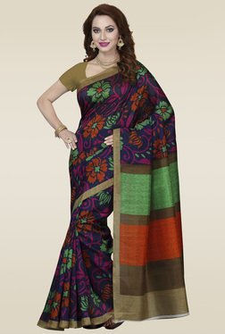 Ishin Purple Printed Bhagalpuri Silk Saree