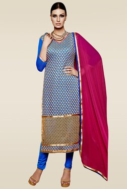 Ishin Blue Embroidered Semi Stitched Dress Material