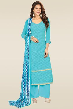Ishin Sky Blue Embroidered Semi Stitched Dress Material