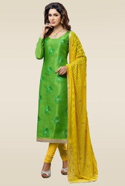 Ishin Green Chanderi Silk Embroidered Dress Material