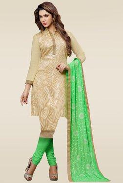 Ishin Beige Embroidered Dress Material With Chiffon Dupatta
