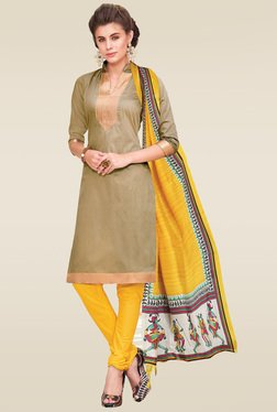 Ishin Beige Printed Dress Material With Dupatta