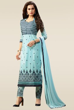 Ishin Light Blue Embroidered Semi Stitched Dress Material