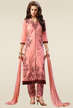 Ishin Peach Embroidered Semi Stitched Dress Material