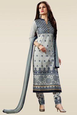Ishin Grey Embroidered Semi Stitched Dress Material