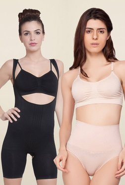 C9 Black Open Bust & Beige Low Waist Shapewear (Pack Of 2)