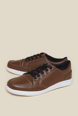 Zudio Brown Faux Leather Sneakers
