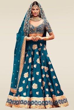 Ethnic Basket Blue Bhagalpuri Bridal Wear Lehenga Set