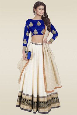 Ethnic Basket Cream Banglori Silk Semi Stitched Lehenga