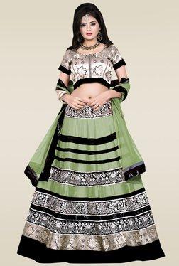 Ethnic Basket Green And Black Embroidered Lehenga Set
