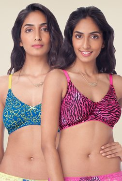 PrettySecrets Pink & Teal Non Padded Bra (Pack Of 2)