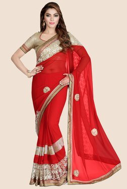 Saree Swarg Red Faux Georgette Saree