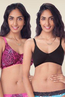 PrettySecrets Black & Pink Non Padded Bra (Pack Of 2)
