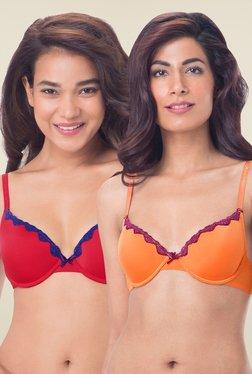 PrettySecrets Orange & Red Padded Bra (Pack Of 2)